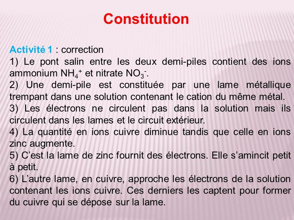 Constitution Activité 1 : correction