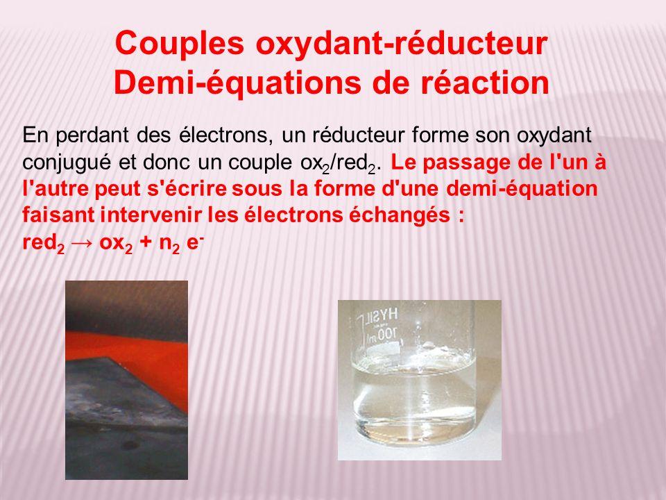 Couples oxydant-réducteur Demi-équations de réaction