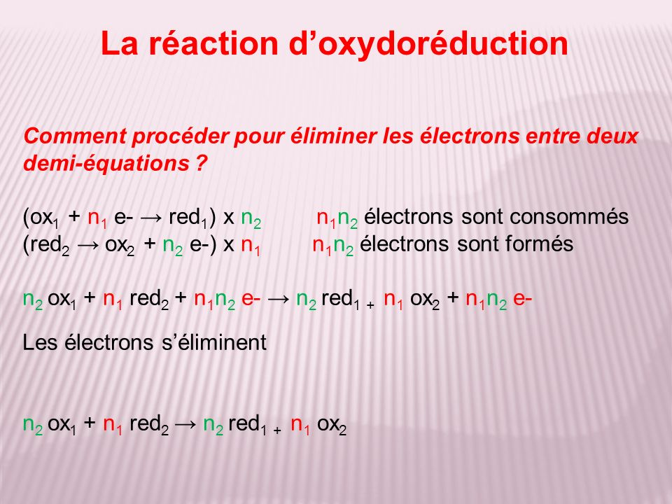 La réaction d'oxydoréduction