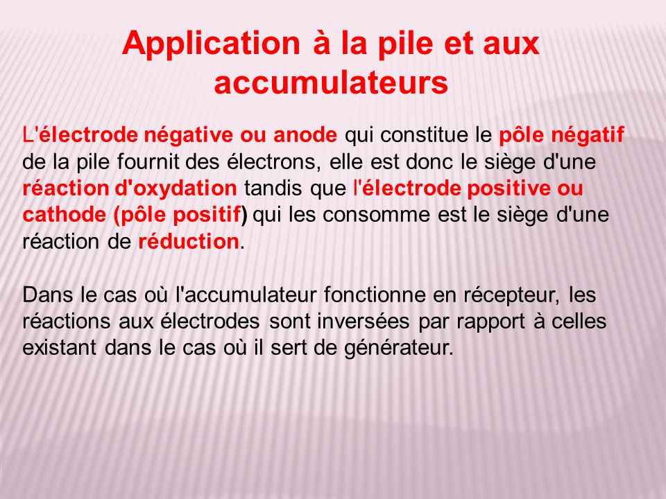 Application à la pile et aux accumulateurs