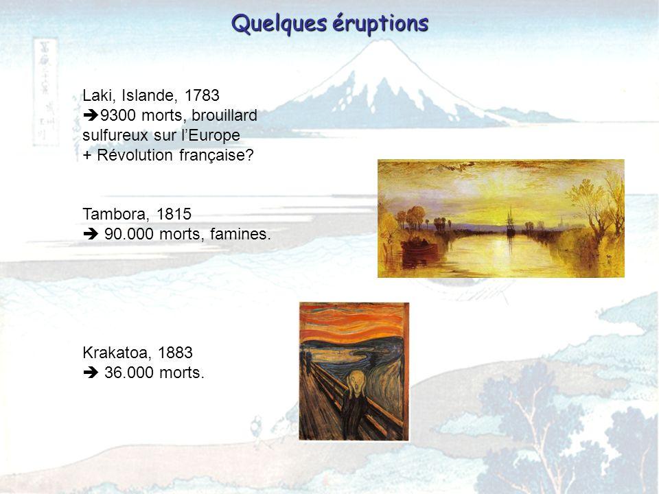 Quelques éruptions Laki, Islande, 1783