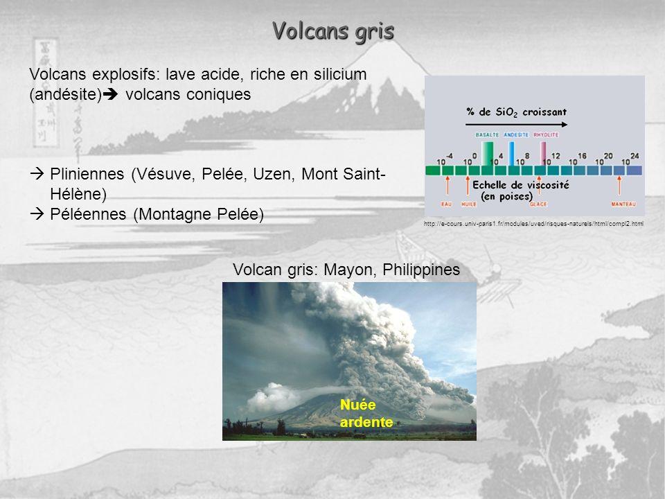 Volcans gris Volcans explosifs: lave acide, riche en silicium (andésite) volcans coniques. Pliniennes (Vésuve, Pelée, Uzen, Mont Saint-Hélène)