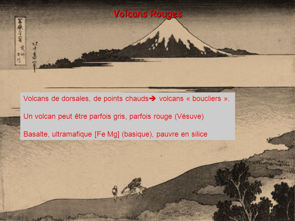 Volcans Rouges Volcans de dorsales, de points chauds volcans « boucliers ». Un volcan peut être parfois gris, parfois rouge (Vésuve)
