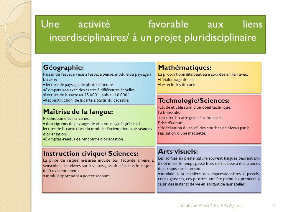Une activité favorable aux liens interdisciplinaires/ à un projet pluridisciplinaire. Géographie: