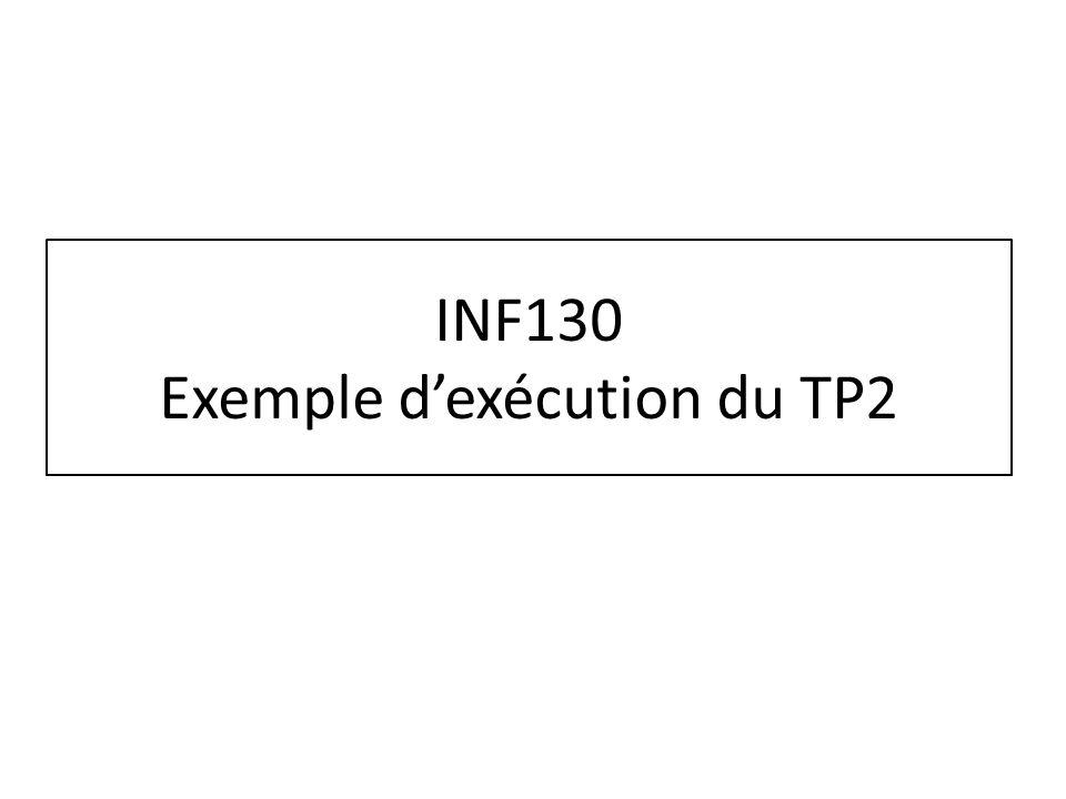 INF130 Exemple d'exécution du TP2