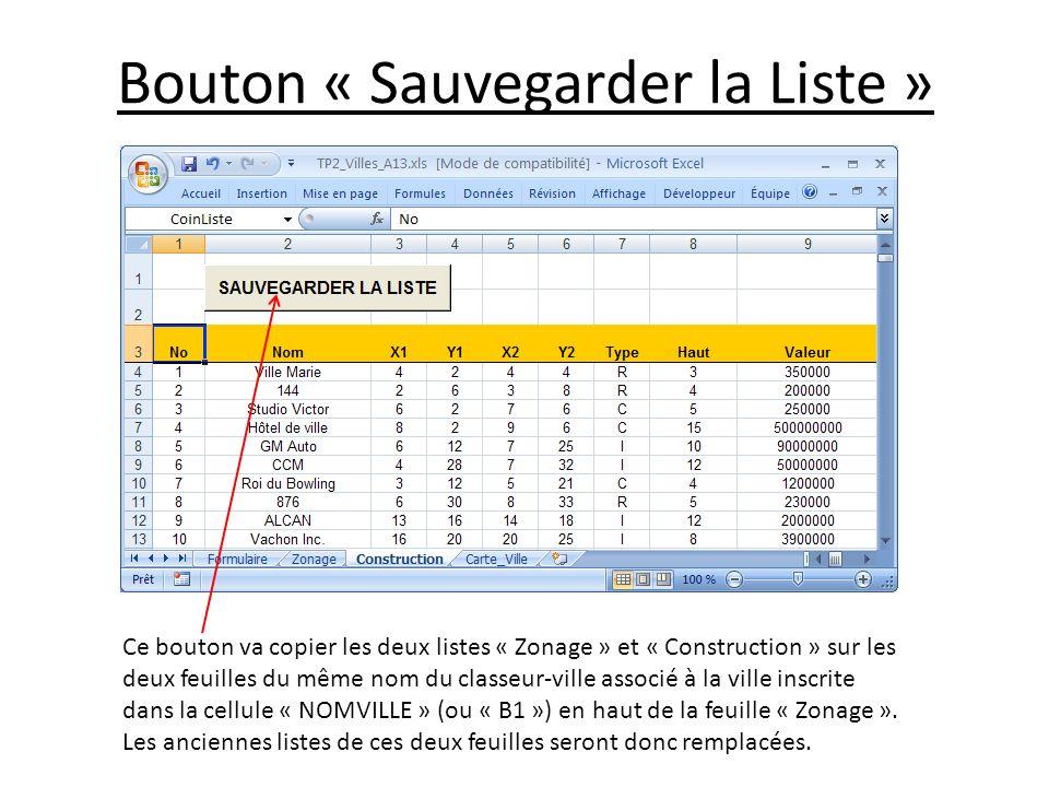 Bouton « Sauvegarder la Liste »
