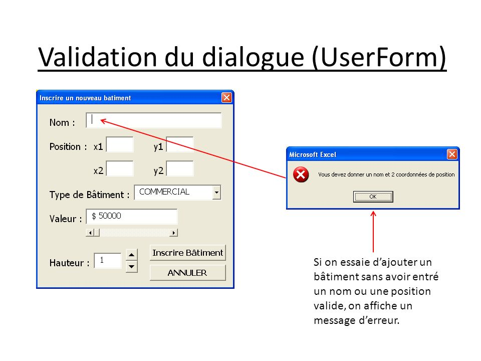 Validation du dialogue (UserForm)