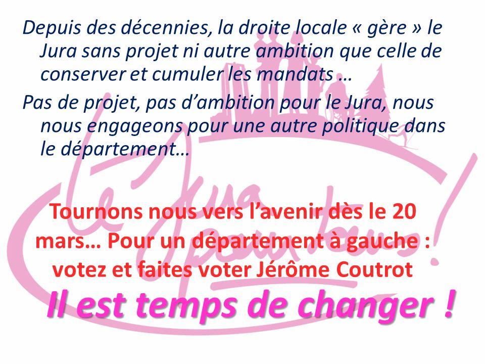 Depuis des décennies, la droite locale « gère » le Jura sans projet ni autre ambition que celle de conserver et cumuler les mandats …