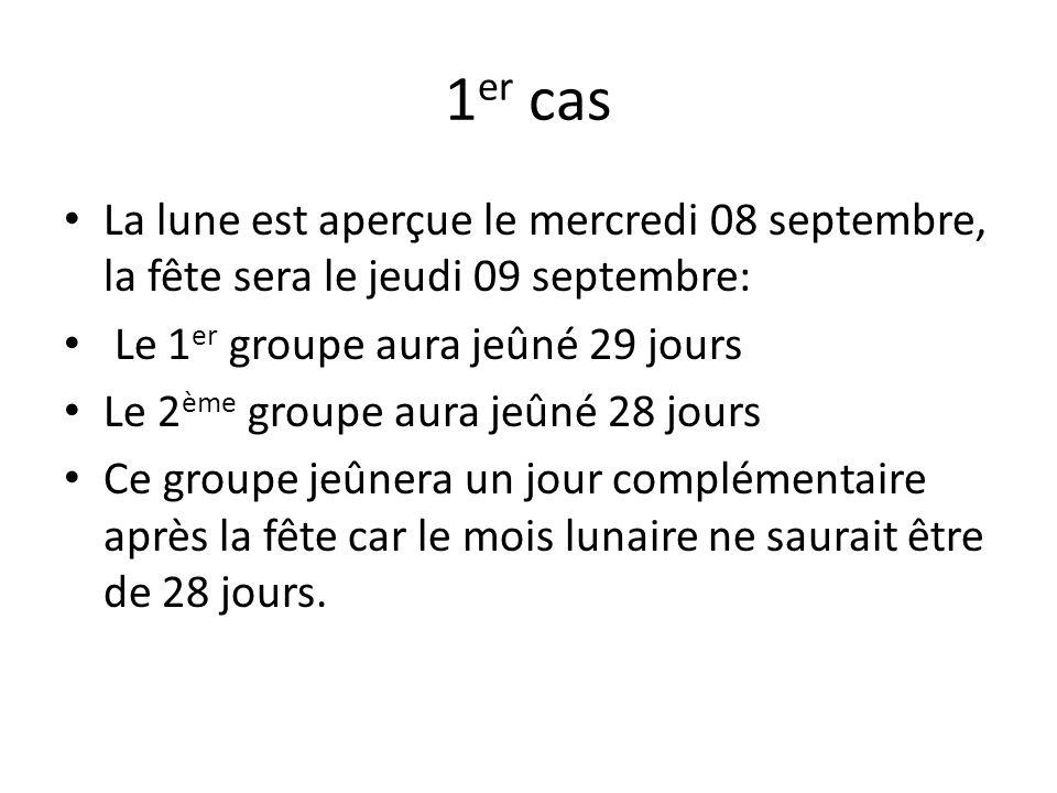 1er cas La lune est aperçue le mercredi 08 septembre, la fête sera le jeudi 09 septembre: Le 1er groupe aura jeûné 29 jours.