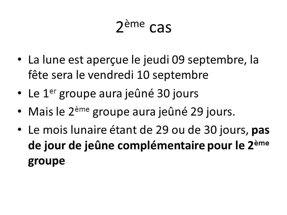 2ème cas La lune est aperçue le jeudi 09 septembre, la fête sera le vendredi 10 septembre. Le 1er groupe aura jeûné 30 jours.