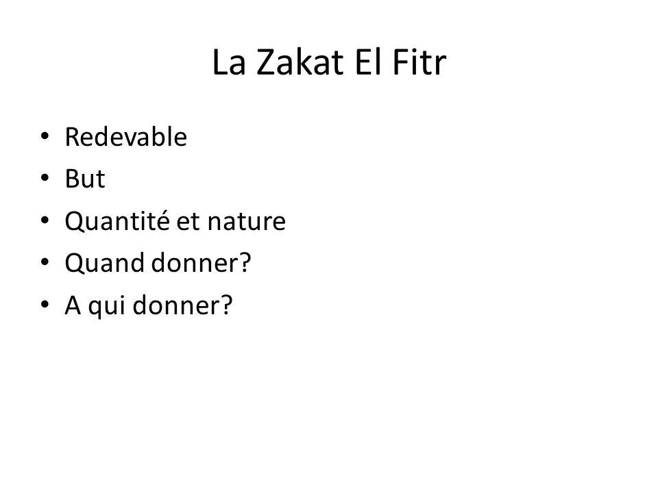 La Zakat El Fitr Redevable But Quantité et nature Quand donner