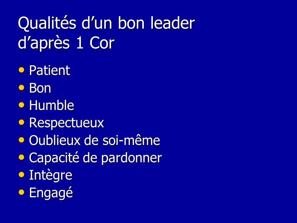 Qualités d'un bon leader d'après 1 Cor
