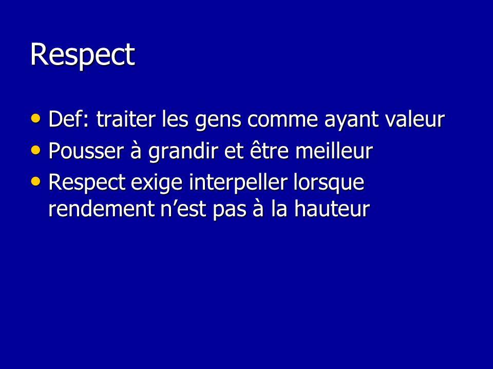 Respect Def: traiter les gens comme ayant valeur