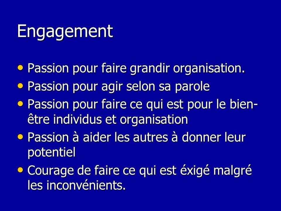 Engagement Passion pour faire grandir organisation.
