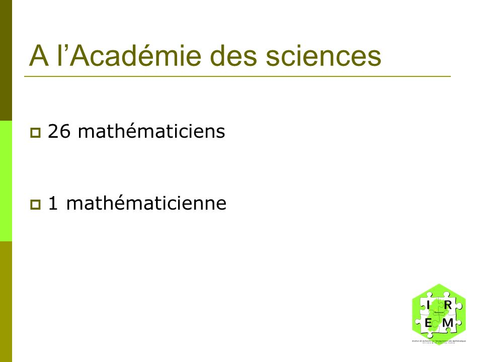 A l'Académie des sciences