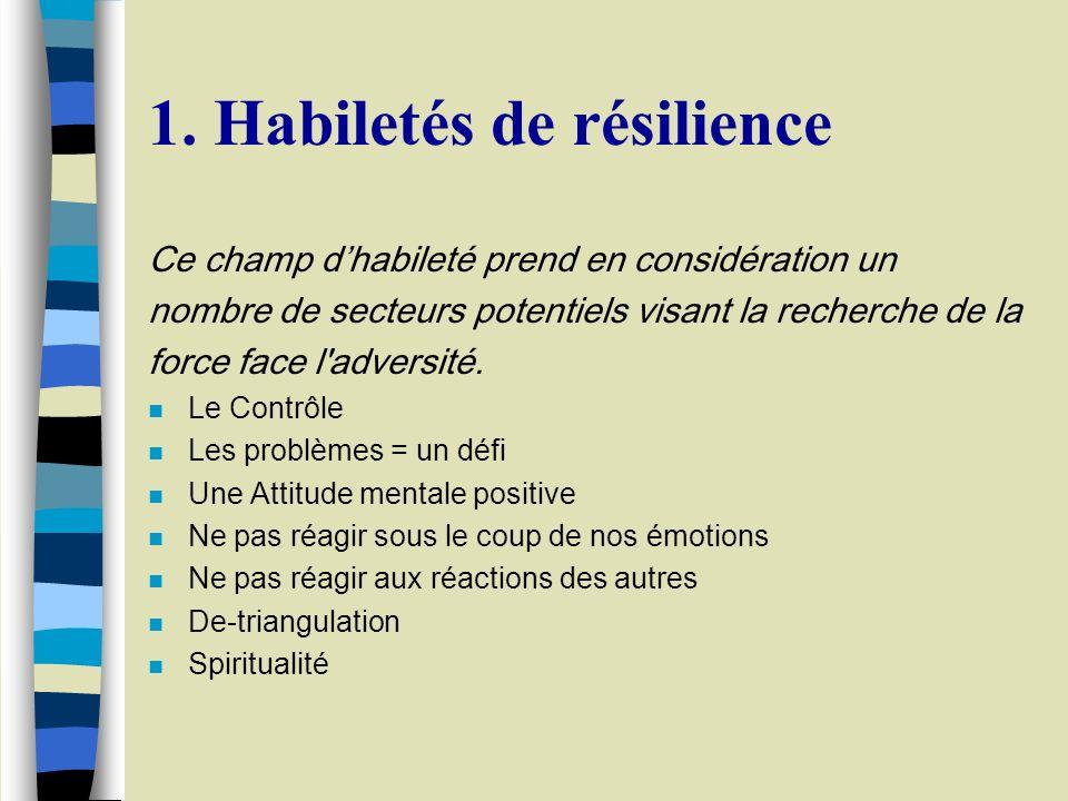 1. Habiletés de résilience