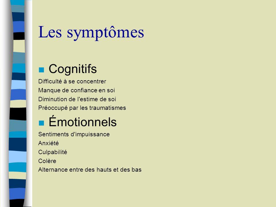 Les symptômes Cognitifs Émotionnels Difficulté à se concentrer