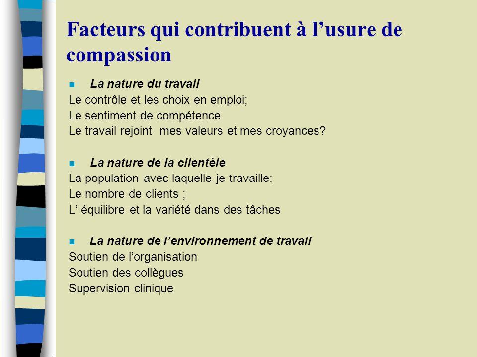 Facteurs qui contribuent à l'usure de compassion