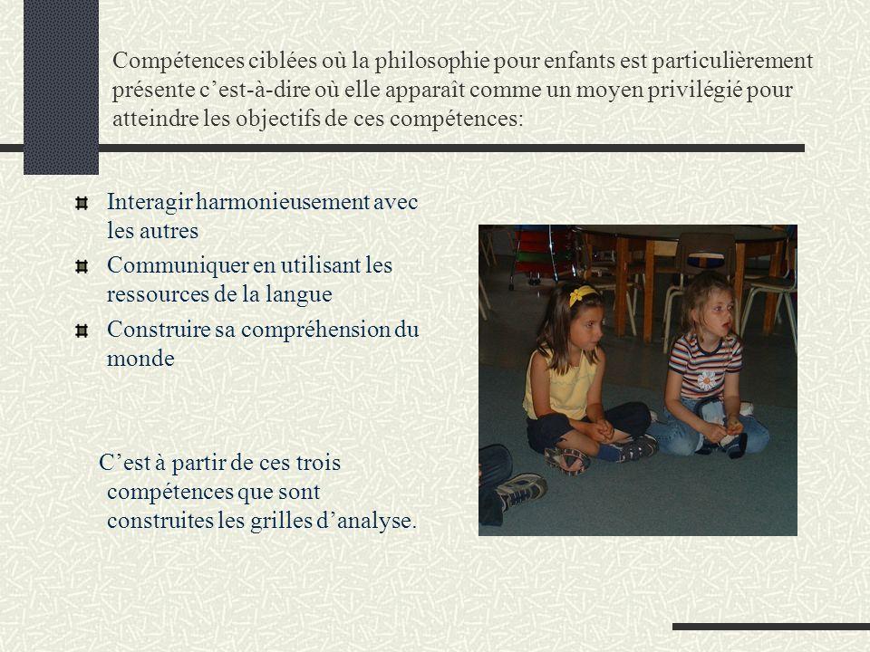 Compétences ciblées où la philosophie pour enfants est particulièrement présente c'est-à-dire où elle apparaît comme un moyen privilégié pour atteindre les objectifs de ces compétences: