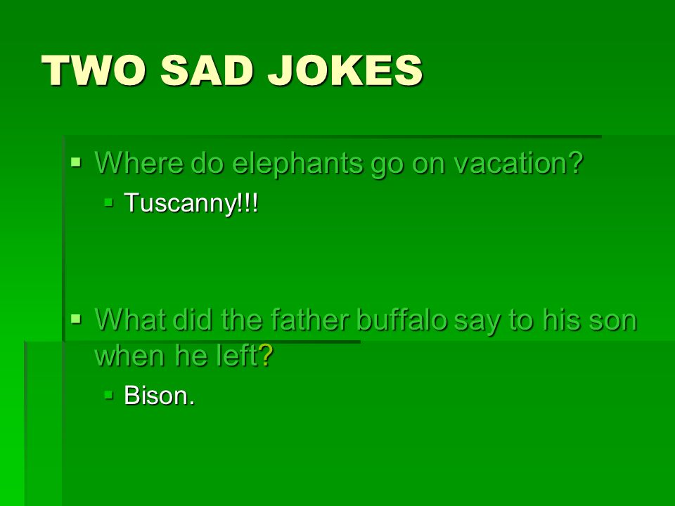 TWO SAD JOKES Where do elephants go on vacation