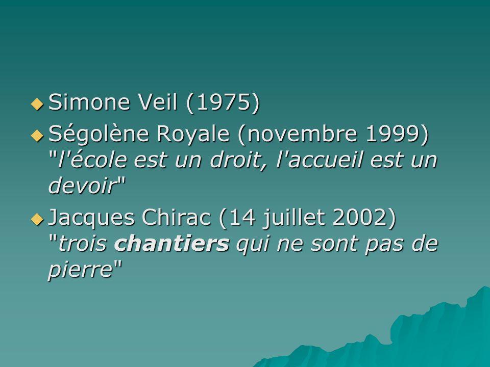 Simone Veil (1975) Ségolène Royale (novembre 1999) l école est un droit, l accueil est un devoir
