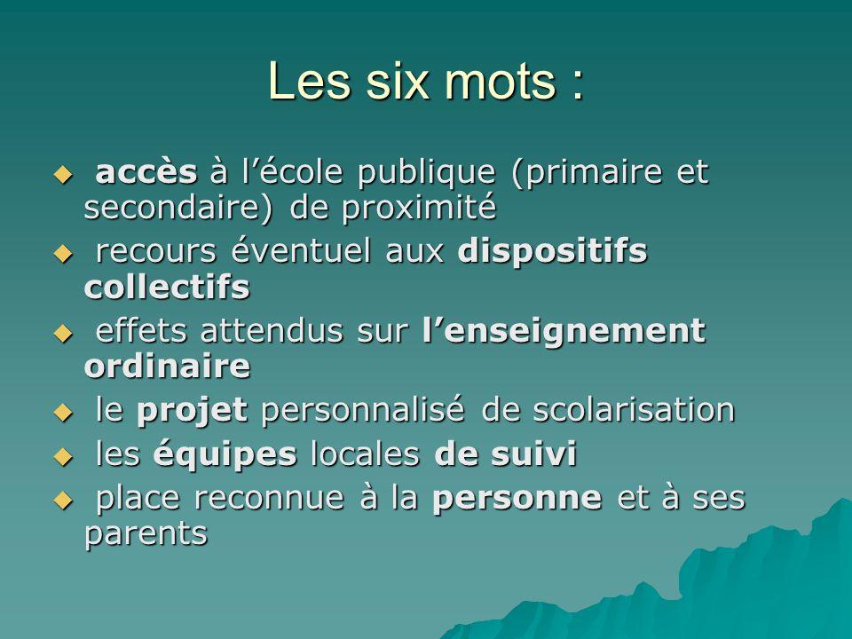 Les six mots : accès à l'école publique (primaire et secondaire) de proximité. recours éventuel aux dispositifs collectifs.