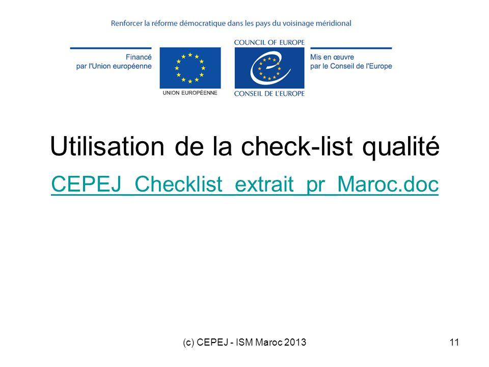 Utilisation de la check-list qualité