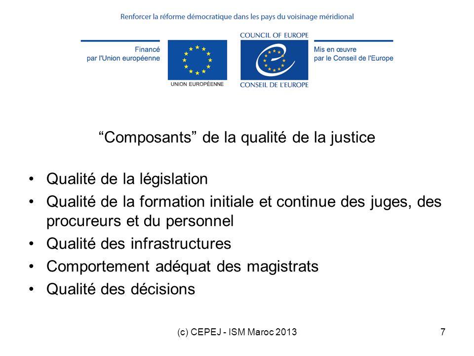 Composants de la qualité de la justice