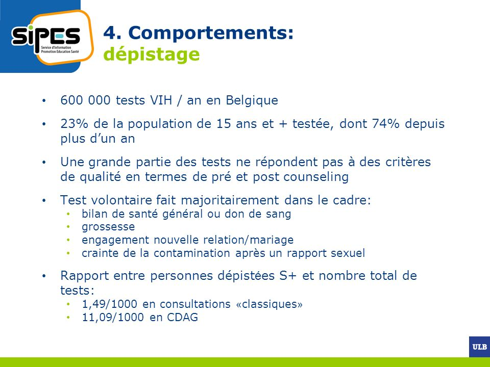 4. Comportements: dépistage