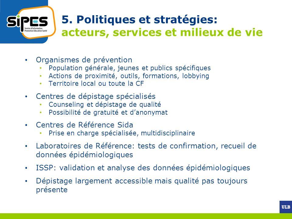 5. Politiques et stratégies: acteurs, services et milieux de vie