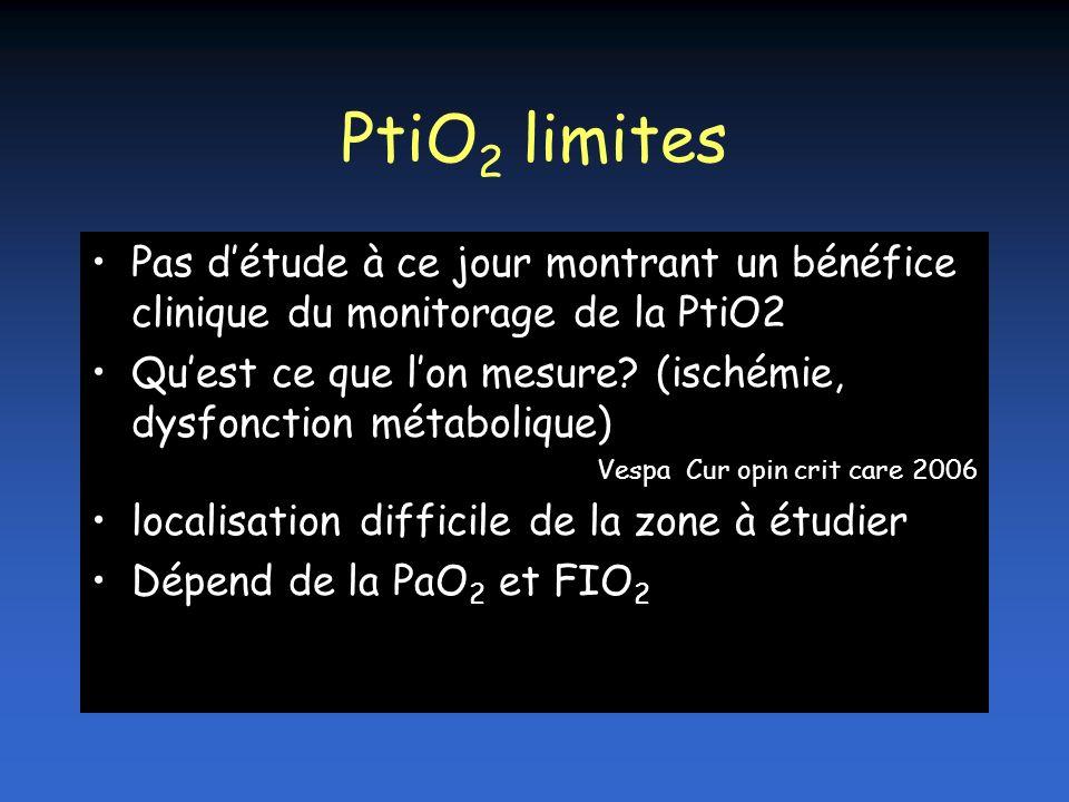 PtiO2 limites Pas d'étude à ce jour montrant un bénéfice clinique du monitorage de la PtiO2.