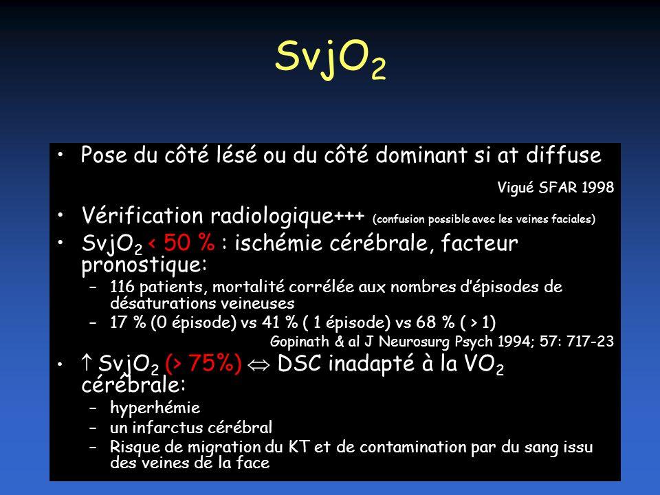SvjO2 Pose du côté lésé ou du côté dominant si at diffuse. Vigué SFAR 1998.