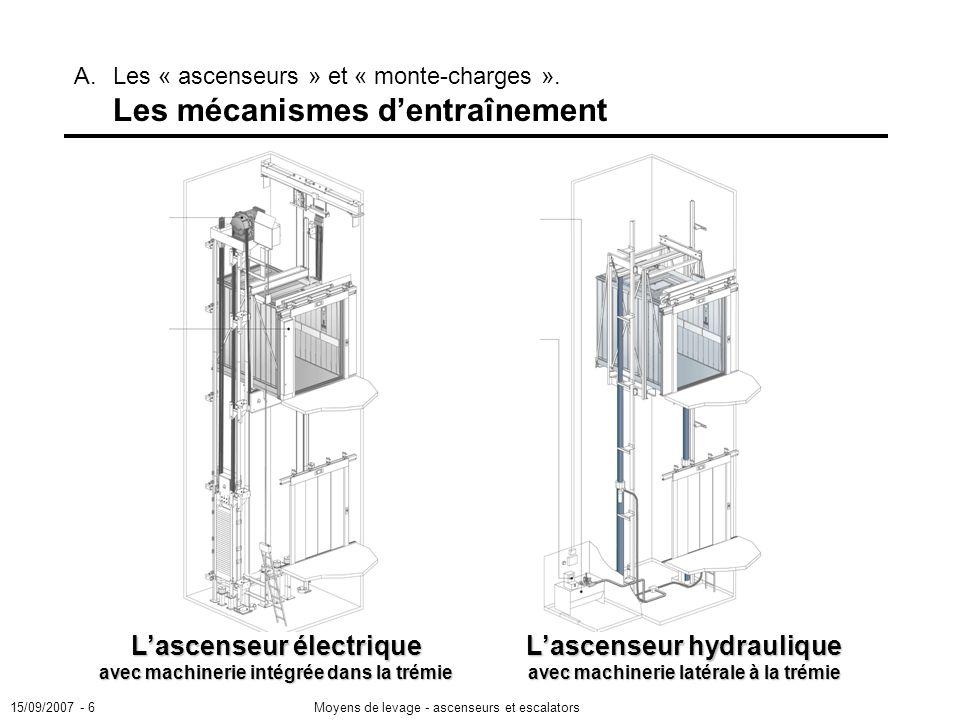 L'ascenseur électrique avec machinerie intégrée dans la trémie