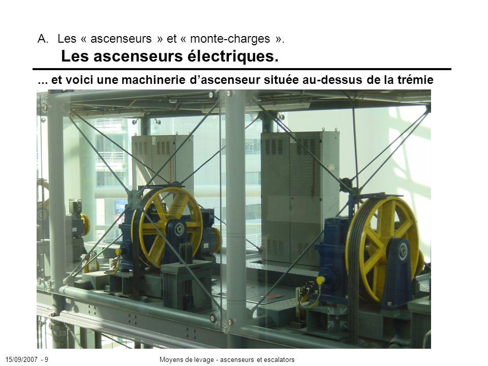 ... et voici une machinerie d'ascenseur située au-dessus de la trémie