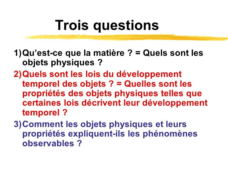 Trois questions 1) Qu'est-ce que la matière = Quels sont les objets physiques