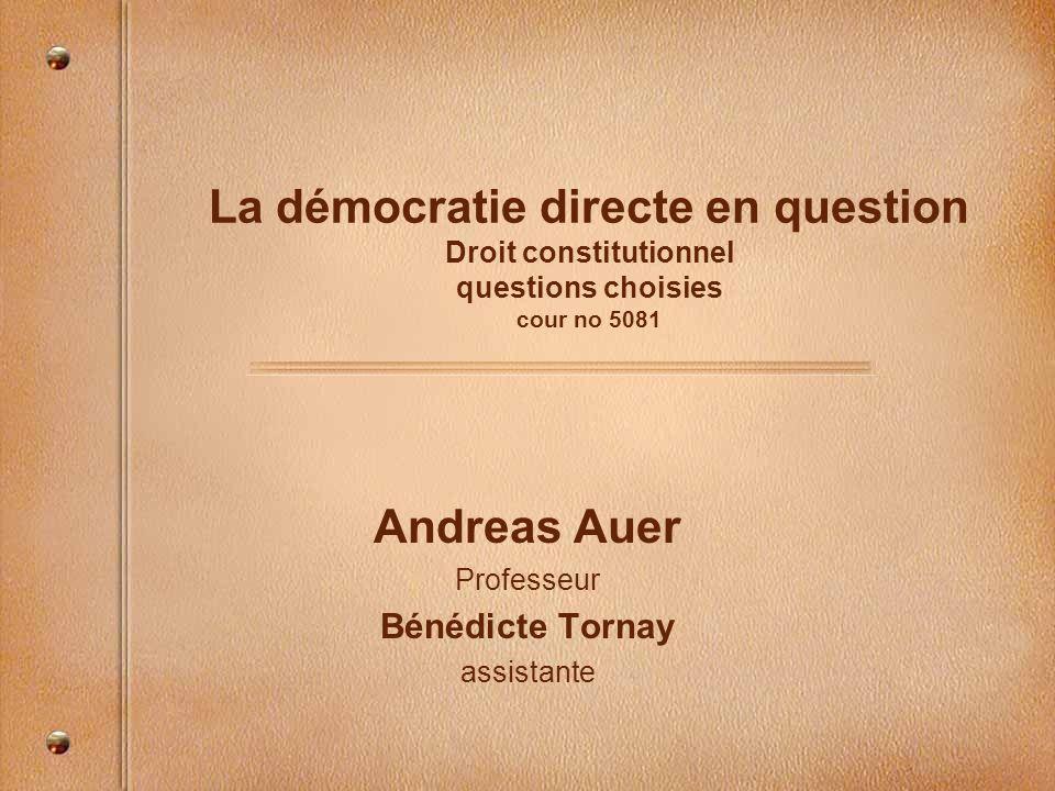 Andreas Auer Professeur Bénédicte Tornay assistante