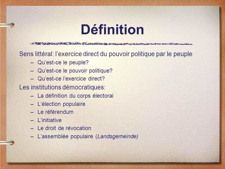 Définition Sens littéral: l'exercice direct du pouvoir politique par le peuple. Qu'est-ce le peuple