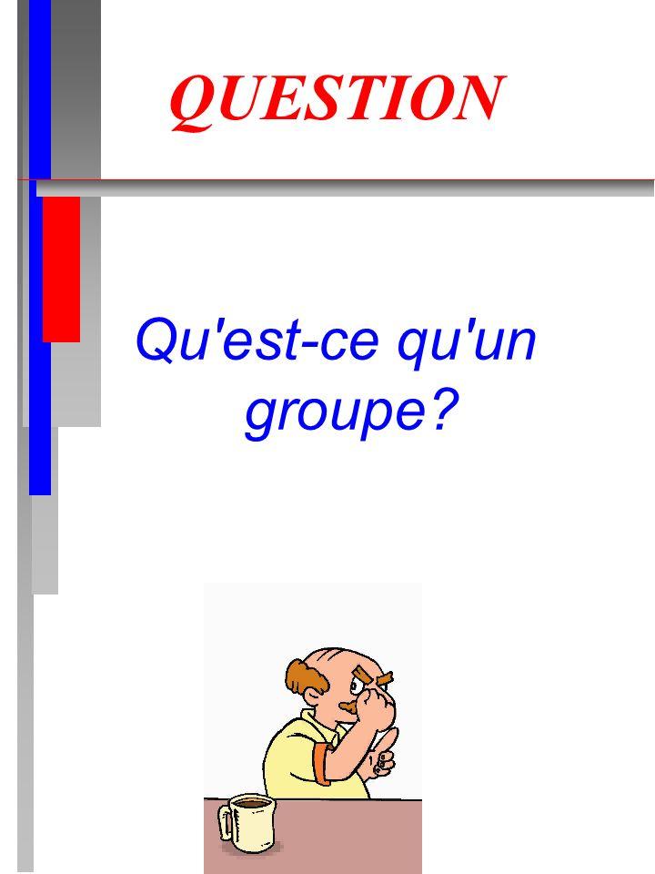QUESTION Qu est-ce qu un groupe