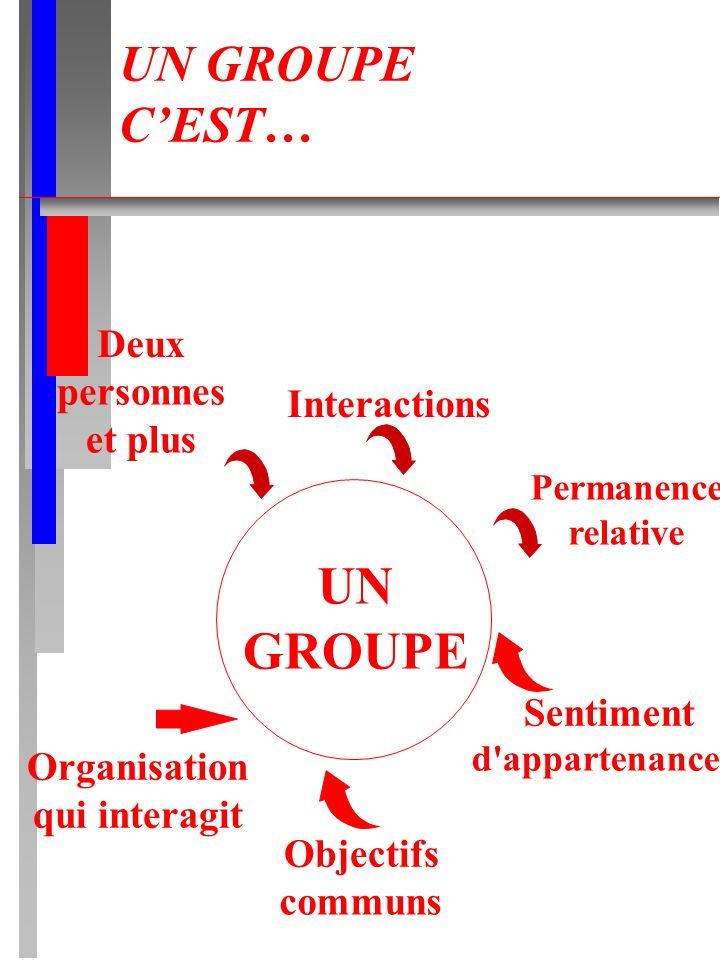 UN GROUPE UN GROUPE C'EST… Deux personnes Interactions et plus