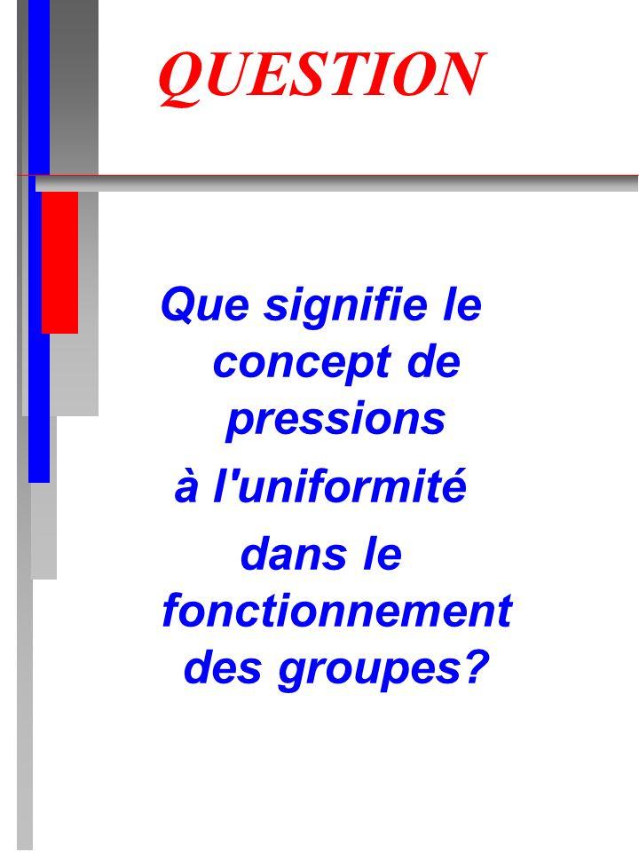 QUESTION Que signifie le concept de pressions à l uniformité