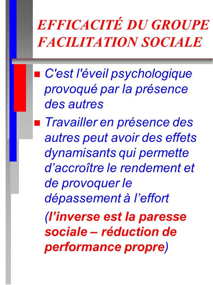 EFFICACITÉ DU GROUPE FACILITATION SOCIALE