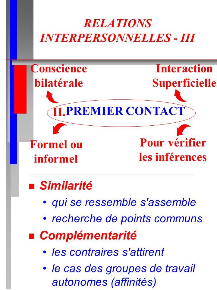 RELATIONS INTERPERSONNELLES - III