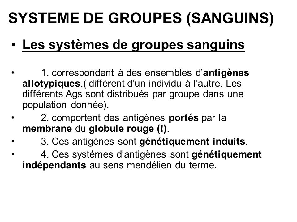 SYSTEME DE GROUPES (SANGUINS)