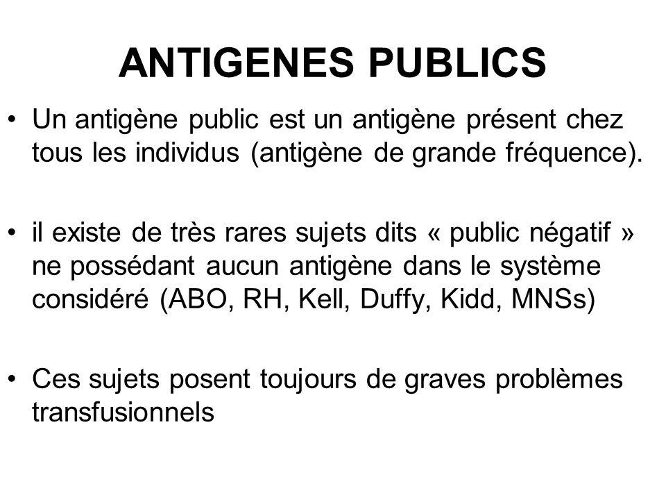 ANTIGENES PUBLICS Un antigène public est un antigène présent chez tous les individus (antigène de grande fréquence).