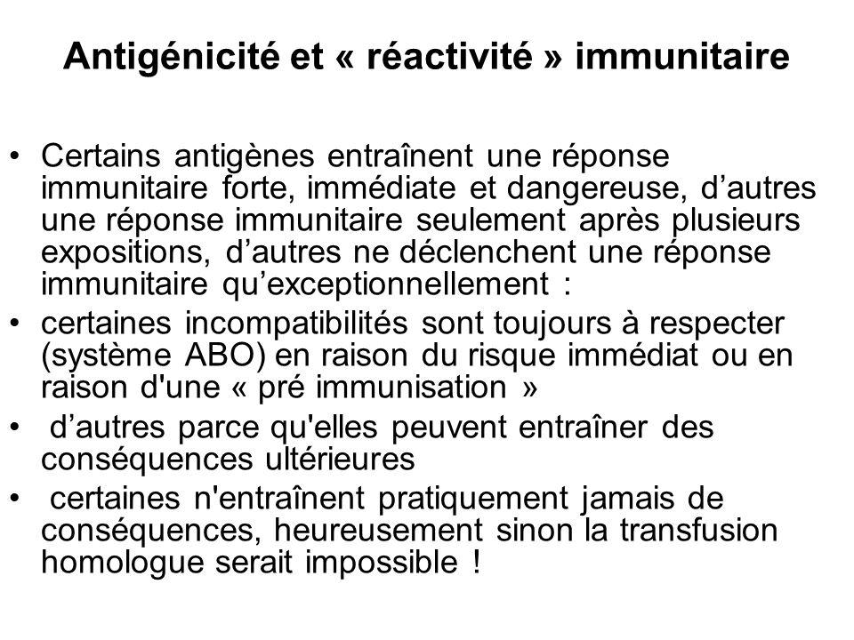 Antigénicité et « réactivité » immunitaire