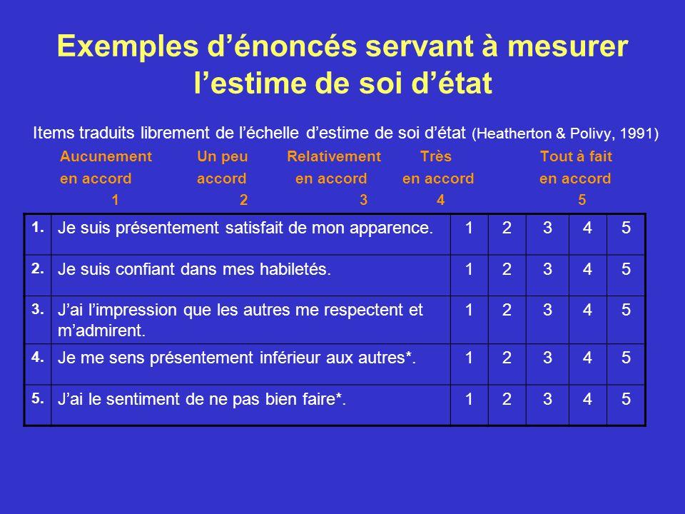 Exemples d'énoncés servant à mesurer l'estime de soi d'état