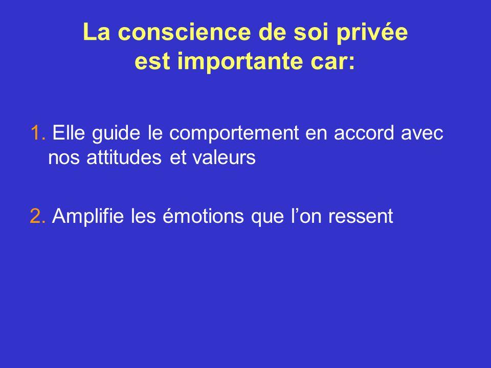 La conscience de soi privée est importante car: