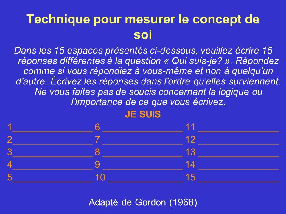 Technique pour mesurer le concept de soi
