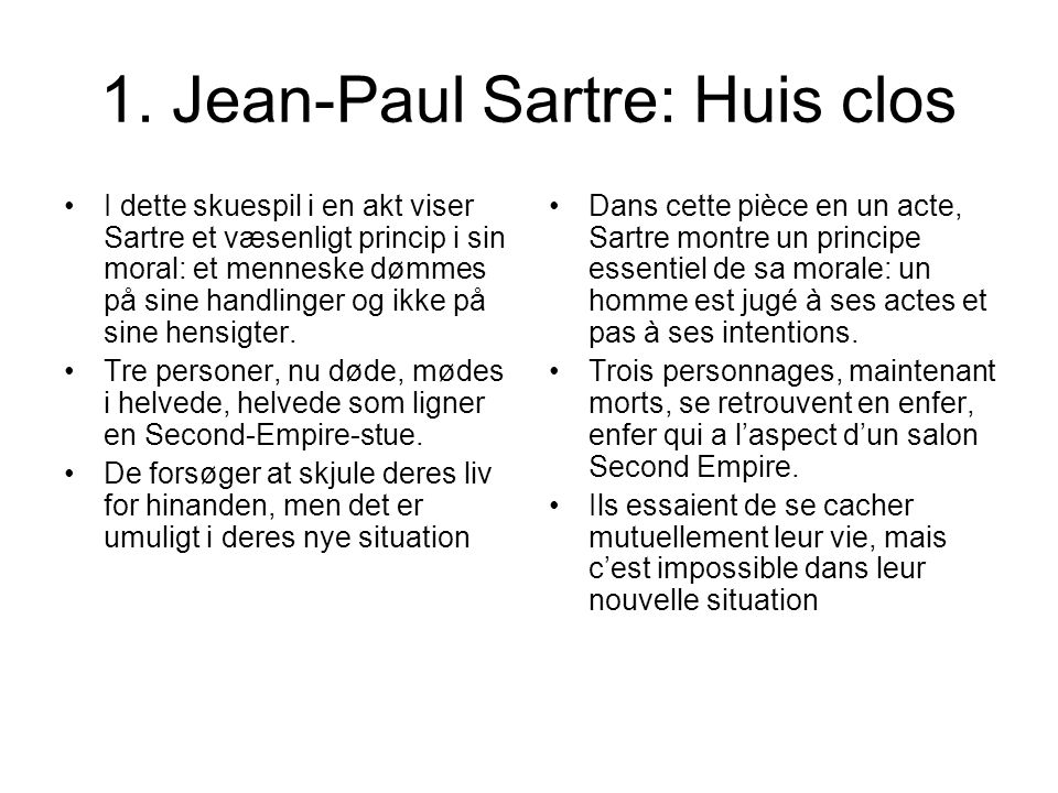 1. Jean-Paul Sartre: Huis clos