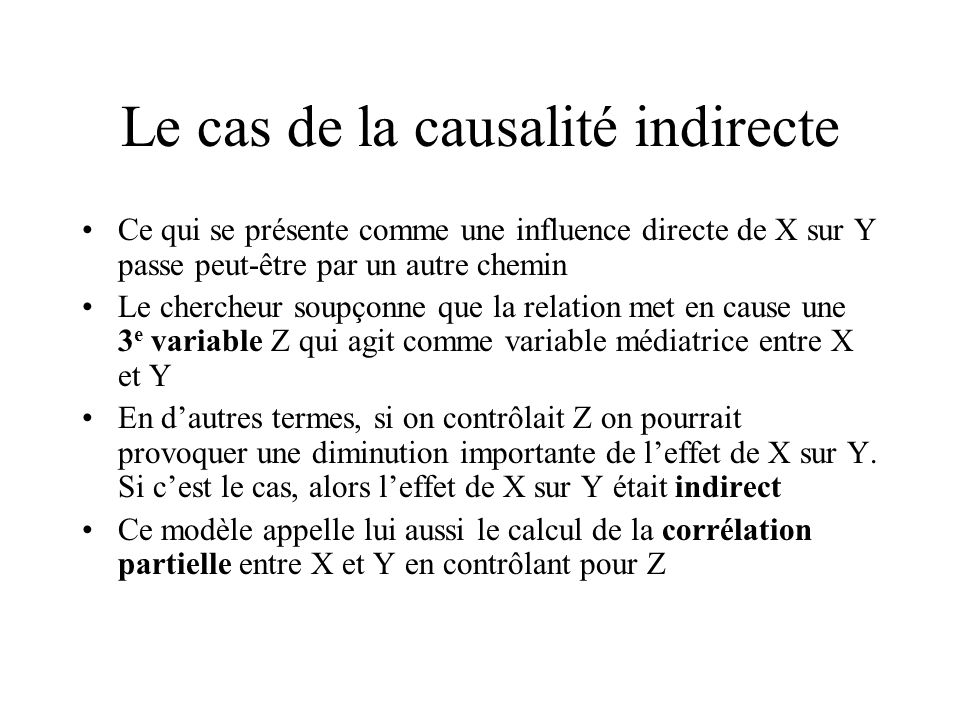 Le cas de la causalité indirecte